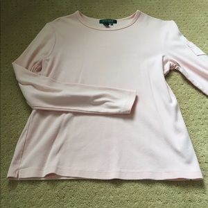 Long sleeved pale pink polo